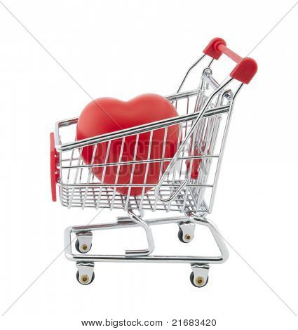 Shopping cart and red heart. Clipping path included.