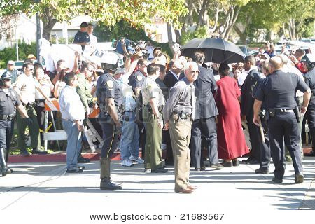SANTA MARIA, CA - NOV 15: Michael Jackson fans at the courthouse in Santa Maria, California on November 15, 2002 - Jackson was sued by the German promoter for canceling concerts