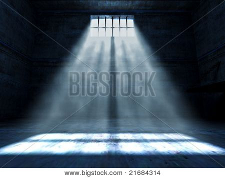 fine 3d image of dark grunge prison