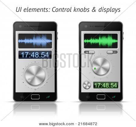 UI-Elemente für mobile Geräte. Regler und Displays. 10 EPS-Vektor-illustration