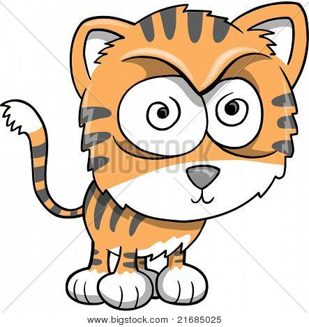 Crazy Insane Tiger Vector Illustration