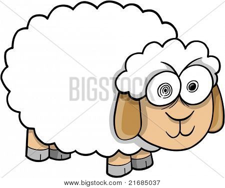 Crazy Insane Sheep Vector Illustration