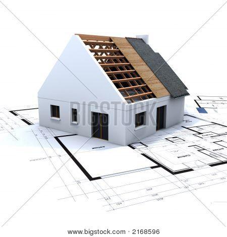 Haus im Bau und Blaupausen