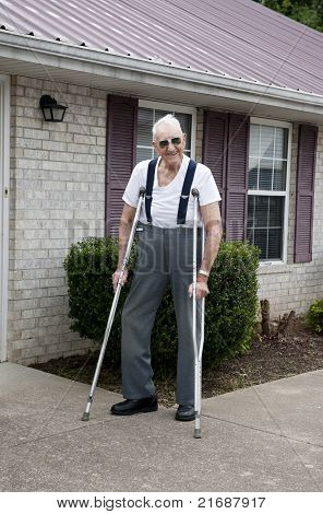 Elderly Man With Crutches