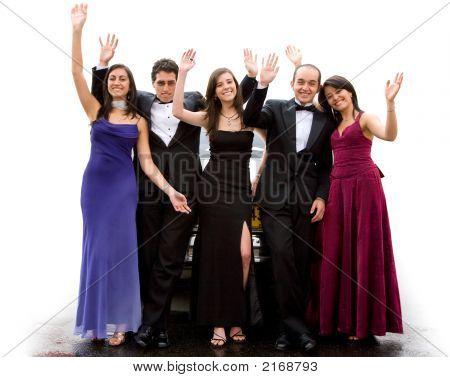 Group Of Elegant Happy Friends