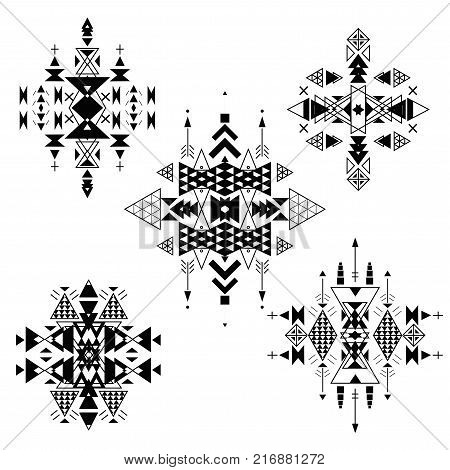 poster of Vector Tribal ethnic ornament. Aztec decor elements . Tribal elements design isolated on a white background. Flat decor elements. Perfect for your design banners posters cards backgrounds.