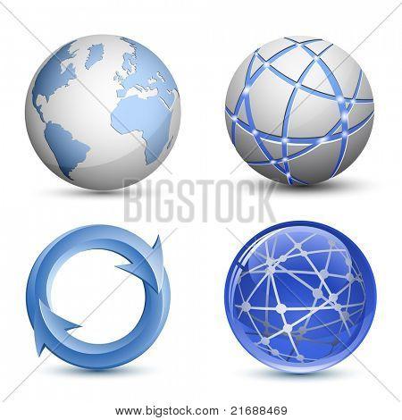 Abstract Globe Icons Set. Raster version