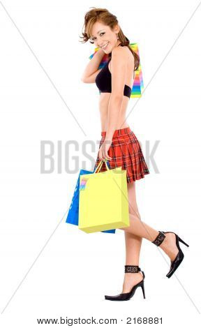 Sexy Girl With Shopping Bags