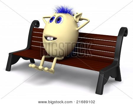 Haired Puppet Resting On Brown Park Bench