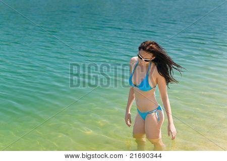 Summer Beach Woman In Bikini Swim Water