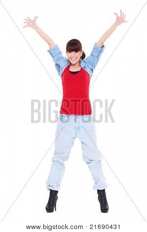 happy woman raised hands up. isolated on white background