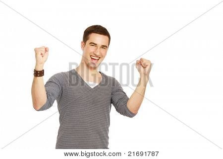 A handsome man showing yes expression on white background