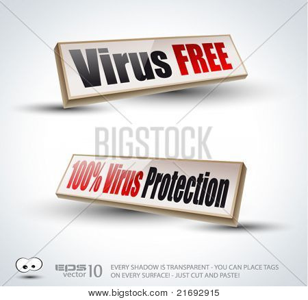 Virus Free 3D Panels with Transparent Shadows and glossy reflection. Ready to copy and past on every surface.