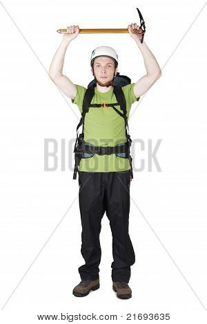 Mountain Tourist In Helmet And With Big Backpack Standing And Holding Pick, Isolated