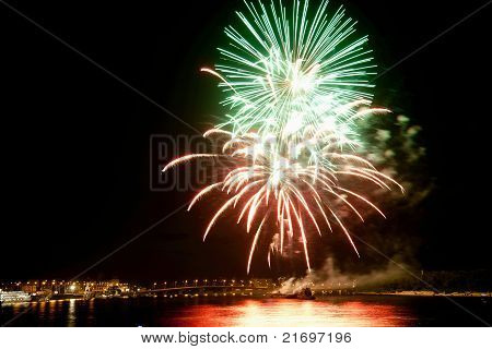 Beautiful Colorful Fireworks In Night Sky.
