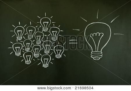 Light Bulbs Teamwork Concept