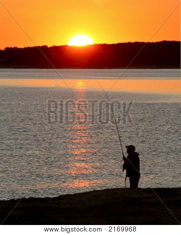 Cape Cod Fisherman And Sunset