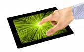 picture of sensory perception  - Businessman uses an interactive application on tablet pc - JPG