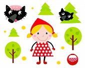 Little Red Riding Hood & Black Wolf Icon Collection.