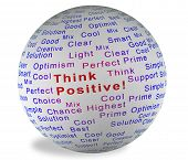 foto of positive thought  - Illustration ball with inscription Think Positive in red on a white background - JPG