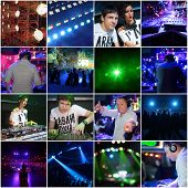 Collage with illuminated night clubs photos and DJs (3 models) poster
