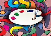 pic of mona lisa  - Wooden art palette with blobs of paint and a brush - JPG