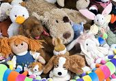 stock photo of stuffed animals  - A pile of stuffed animials for a childs room - JPG