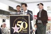LOS ANGELES - APR 12: Russell Crowe, Brian Grazer and Ron Howard at a ceremony where Russell Crowe i