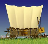 stock photo of covered wagon  - Raster version of vector illustration with a Wild West covered wagon in prairie against the background of a flock of horses - JPG