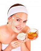 image of home remedy  - Natural homemade organic  facial masks of honey - JPG