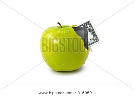 Tablet And Dollar Coming Out From Green Apple