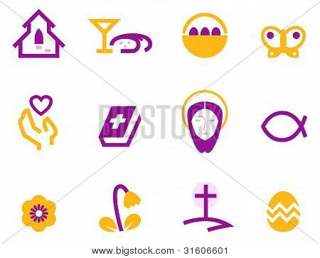 Easter And Christianity Icon Set Isolated On White ( Purple )
