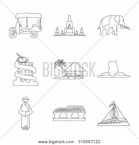 poster of Isolated Object Of Landmark And Culture Icon. Set Of Landmark And Tourism Stock Vector Illustration.