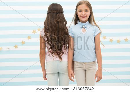 poster of Small Girls With Long Curly Hair. Healthy Hair. Shampoo Conditioner Balm And Mask. Curling Styling.