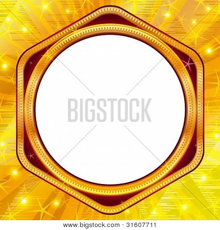 Golden frame on gold background
