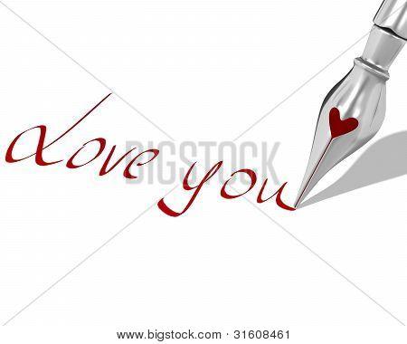 """Tinta pluma pluma con corazón escribe """"te amo"""""""