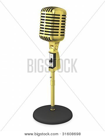 Golden Classic Microphone On Black Stand