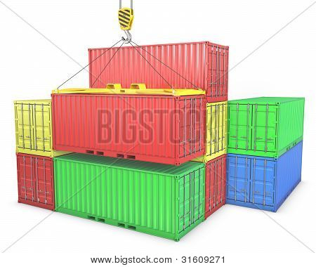 Group Of Freight Containers