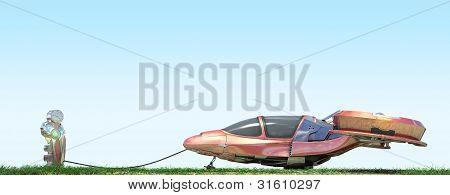 Futuristic Flying Car At Gas Station
