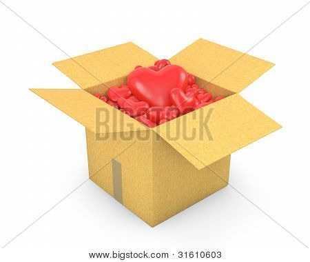 Caja de cartón llena de corazones