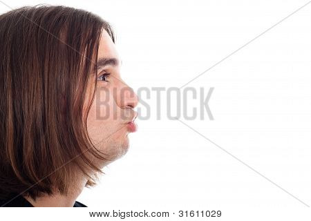 Profile Of Funny Man Face Kissing