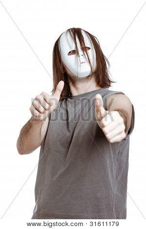 Horror Man Gesturing Thumbs Up
