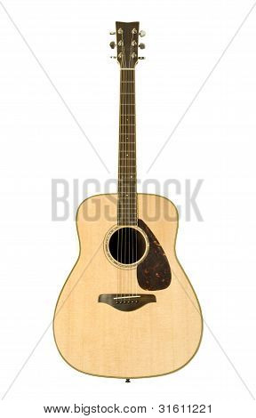 Acoustic Guitar Against White