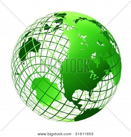 Transparent The Globe Green Color
