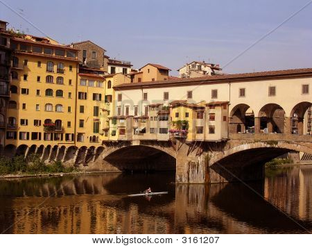 The Ponte Vecchio With Canoeist