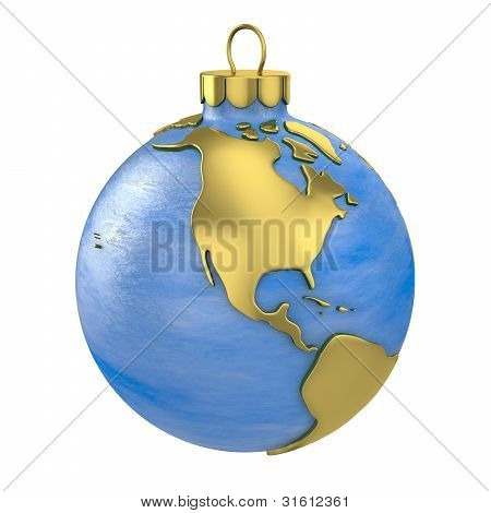 Christmas Ball Shaped As Globe Or Planet,north America Part