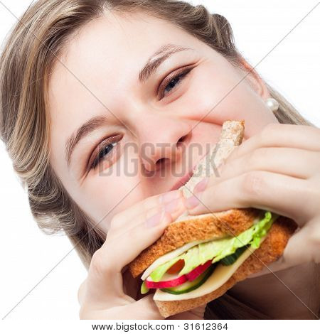 Happy Woman Eating Sandwich