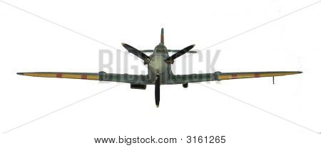 Spitfire Model Plane In Flight