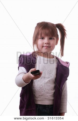 A Little Girl With A Remote Control Unit