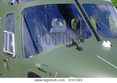 Helicopter Close Up Of Side On Windscreen And Inside